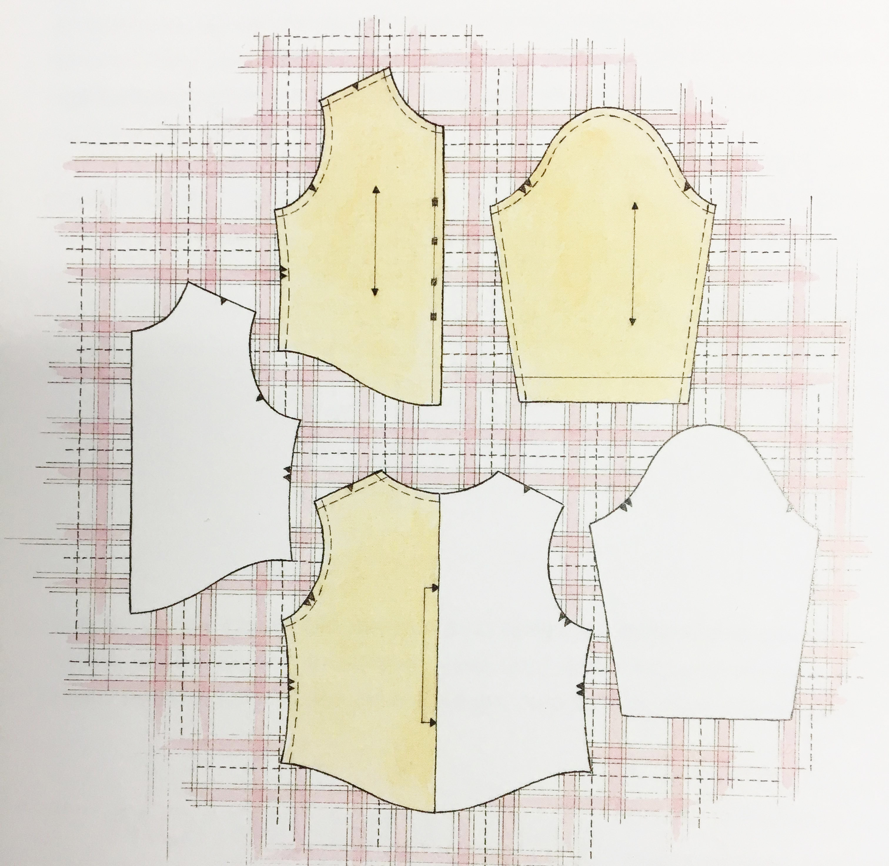 Sewing Striped, plaid and print fabrics. Diagram 2